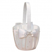 Romantic Wedding Flower Girl Basket, Satin Bowknot Flower Basket, Rhinestone H - type Wedding Basket, Marriage Props Wedding Party Decoration Supplies - White,13x22cm