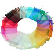 100x Da.Wa Organza Gift Bags Multi Coloured Wedding Favour Bags Jewellery Pouches 7 x 9 cm