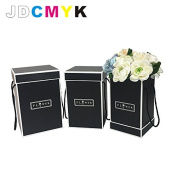 3pcs/set Flowers packing box high tube square bucket flower box gift box, wedding party gift box,