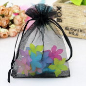 Jooks Organza Wedding Gift Bags Jewellery Pouch Drawstring Bags Candy Pockets(Black) 100 Pcs