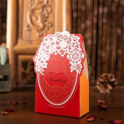 Qearly Decorative Wedding Favour Boxes Candy Boxes Shower Gift Box-Red