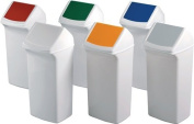 Durable Recycling Bin H747XB320XT366 mm 40 Litre White Plastic PE with Lid Blue