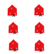 RICISUNG Santa Clause Red Hat Chair Back Cover Christmas Dinner Table Party Decor
