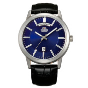 Orient Men's 42mm Black Leather Band Steel Case Automatic Blue Dial Analogue Watch FEV0V003DH