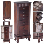 Costway Jewellery Cabinet Armoire Box Storage Chest Stand Organiser Necklace Wood