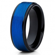 Blue & amp; Black Tungsten Ring Tungsten Carbide Ring Brushed Finish Wedding Band 8mm