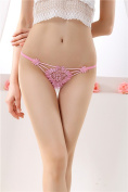 XW-atxsLadies underwear embroidery lace thong hair t pants waist transparent ,Large pink