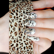 EchiQ Leopard Gracious Nail Foil Decoration Fashion Style Glue Foil Decals Easy Use in jar 1 Roll