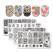 Born Pretty Nail Art Stamping Plates Valentine's Day Rose Flower Lace Love Theme Word Manicure Image Templates