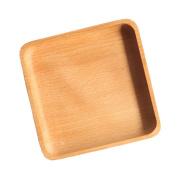 MagiDeal Wooden Serving Tray Dinner Plate Serving Tea Breakfast Beech Kitchen Platter Square Shaped 13×13×2.5 cm