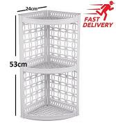 3 Tier Bathroom Corner Shelf Organiser Rack Wall Hanging Storage Plastic