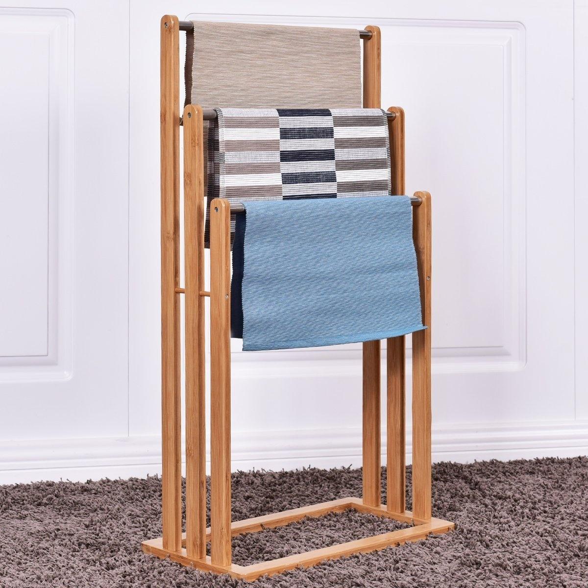 Costway 3 Tier Bamboo Towel Rack Freestanding Rail Holder Shelf ...
