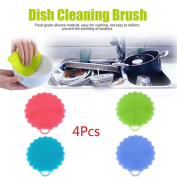erthome 1x 4Pcs Silicone Dish Washing Sponge Scrubber Kitchen Cleaning antibacterial Tool