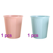 BLJRGS Plastic Trash Bin Uncovered Garbage Can Rubbish Bin waste paper basket for Home Office 1*Pink+1*Blue