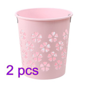 BLJRGS Household Plastic Trash Can Creative Hollowed-out Wastepaper Basket Rubbish Bin - Pink*2