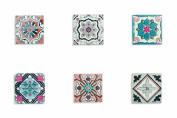 Villa d 'Este Home Tivoli Ceramic Square Platter, poggiami – Bottom – Multicolore