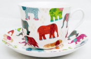 Elephants Breakfast Cup & Saucer Fine Bone China Patched Multicolour Elephants Large Cup & Saucer Hand Decorated in the UK