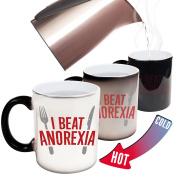 Funny Mugs - 123t I Beat Anorexia Cartoon - Joke Humour Gift Birthday Present COLOUR CHANGING NOVELTY MUG -Christmas Secret Santa
