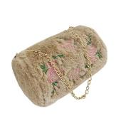 HCFKJ Women Fashion Shoulder Bag Ladies Girls Rose Wool Handbag Zipper Chain Bag Messenger Phone Cluth