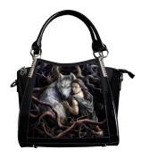ANNE STOKES 3D Large Hand Bag Black PVC Goth Wolf Princess 'Soul Bond'