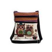 Yuan Women Shoulder Bag Linen Handbags Embroidered Owl Tote Bags