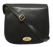 Rowallan Black Leather Shoulder Bag