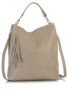 LiaTalia Womens Genuine Italian Leather Hobo Shopper Shoulder bag with Protective Dust Bag - Gwen