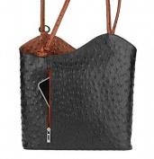 "OBC Leather bag Ostrich Crocodile Embossing Women's Bag 2in1 Handbag Backpack Shoulder Bag Strap bag Tablet/Ipad ca. 10-12 Inch 27x29x8 cm (WxHxD) - Black Cognac (Ostrich), 10.63""x11.42""x3.15"""