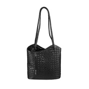 "OBC Leather bag Ostrich Crocodile Embossing Women's Bag 2in1 Handbag Backpack Shoulder Bag Strap bag Tablet/Ipad ca. 10-12 Inch 27x29x8 cm (WxHxD) - Black (Crocodile), 10.63""x11.42""x3.15"""