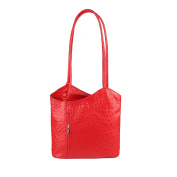 "OBC Leather bag Ostrich Crocodile Embossing Women's Bag 2in1 Handbag Backpack Shoulder Bag Strap bag Tablet/Ipad ca. 10-12 Inch 27x29x8 cm (WxHxD) - Bright red (Ostrich), 10.63""x11.42""x3.15"""