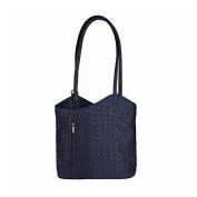 "OBC Leather bag Ostrich Crocodile Embossing Women's Bag 2in1 Handbag Backpack Shoulder Bag Strap bag Tablet/Ipad ca. 10-12 Inch 27x29x8 cm (WxHxD) - Dark Blue(Crocodile), 10.63""x11.42""x3.15"""