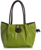 BHSL Womens Trendy Designer Boutique Large Button Detail Tote Shoulder Bag With Elephant Charm and Dust Bag