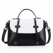 Trend Handbag Leather Small Bag Shoulder Messenger Bag Female Handbag , black white