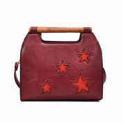 Pu Candy Colour Trendy Handbag Five-Pointed Star Fashion Trendy Girls Bag , red