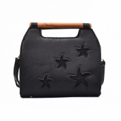 Pu Candy Colour Trendy Handbag Five-Pointed Star Fashion Trendy Girls Bag , black