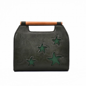Pu Candy Colour Trendy Handbag Five-Pointed Star Fashion Trendy Girls Bag , green