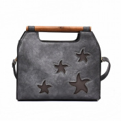 Pu Candy Colour Trendy Handbag Five-Pointed Star Fashion Trendy Girls Bag , grey