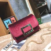 Square Buckle Shoulder Bag Velvet Packet Messenger Bag Short Hair Gold Velvet Small Square Bag Handbags , red