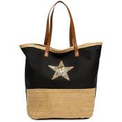 CASPAR TS1041 Large XXL Women Beach Bag / Shopper Bag with Bast Decor and Glitter Star Print