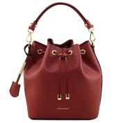 Tuscany Leather Vittoria Ruga leather secchiello bag Red Leather handbags