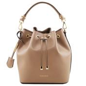 Tuscany Leather Vittoria Ruga leather secchiello bag Dark Taupe Leather handbags