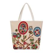 Festiday Owl Printed Canvas Tote Casual Beach Bags Women Shopping Bag Handbags