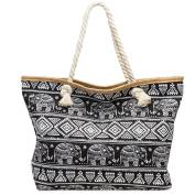 CASPAR TS1042 Large XXL Women Shopper Bag / Beach Bag with Exotic Elephant Pattern