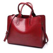 Oversized Women's PU Leather 3 Sections Shoulder Bag Top-Handle Handbag Tote Bag Cross Body Bags