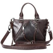 Vintage Genuine Leather Tote Bag For Women Shoulder Sling Bag Dark Coffee