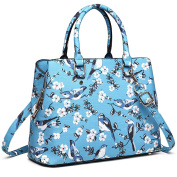 Miss Lulu Trendy Top Handle Bags New Birds Flower Pattern Multi Compartments Handbag for Women