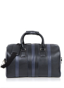 Real Leather Langdale Weekend Bag Holdall in Black with Navy Blue Stripes