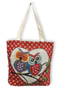 Hand Bag, shopping or beach bag, Owls patterns, imported from Thailand