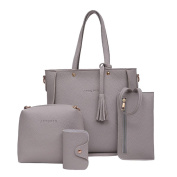Quistal Women's Handbags Ladies Tote Shopping Bags Leather Top-Handle Bags Wallet Purse, 4 PCS