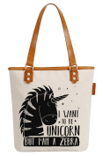 So'each Women's I Want To Be Unicorn Canvas Tote Pearly Top Handle Shoulder Bag